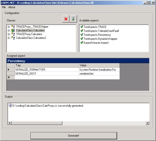 screenshot of LOOM.NET Static Aspect Weaver